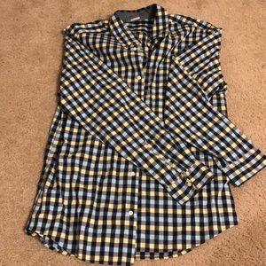 Gap original fit blue yellow checkered dress shirt